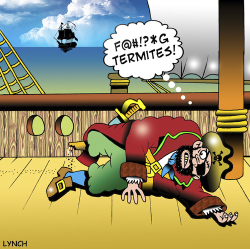 Cartoon: termites (medium) by toons tagged pirates,termites,of,the,carribean,wood,timber,armada,ships,white,ants,wooden,leg,schooner