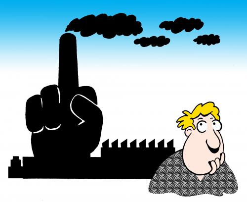 Cartoon: the finger (medium) by toons tagged environment,ecology,greenhouse,gases,pollution,earth,day