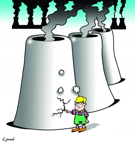 Cartoon: the nuclear dyke (medium) by toons tagged environment,ecology,greenhouse,gases,pollution,earth,day