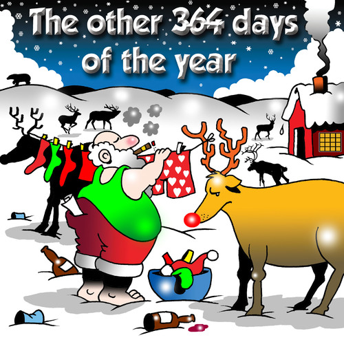 Cartoon: The other days (medium) by toons tagged christmas,santa,north,pole,reindeers,laundry,washing,dry,cleaning