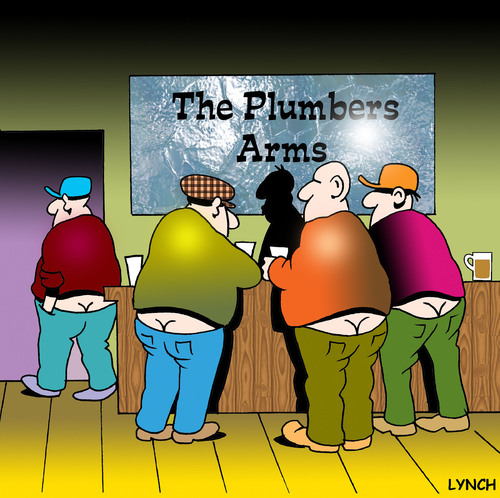 Cartoon: The Plumbers Arms (medium) by toons tagged plumbers,plumbing,tradesperson,pubs,beer,bottoms,trousers,pants