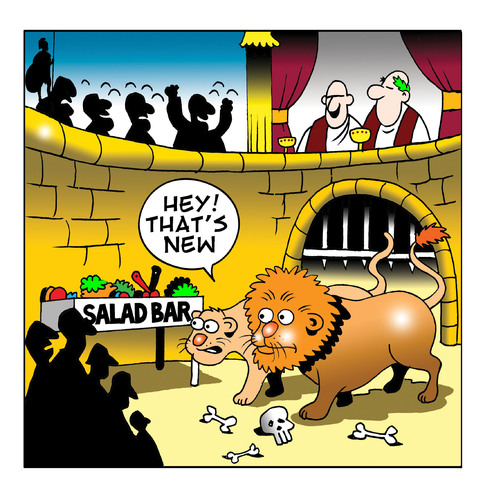 Cartoon: the salsd bar (medium) by toons tagged romans,christians,colloseum,lions,and,rome,religion,christianity,salad