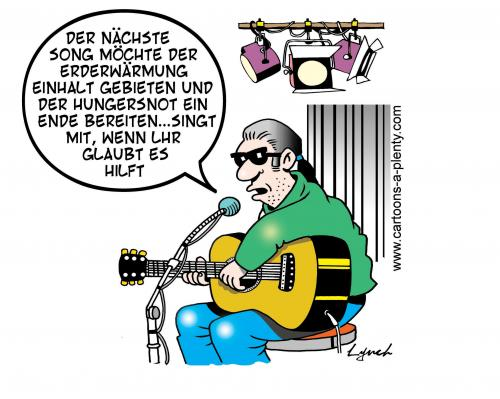 Cartoon: the singer (medium) by toons tagged entertainer,global,warming,environment,protest,ecology,starvation,oil,crisis,earth