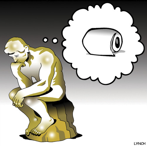 Cartoon: The Thinker (medium) by toons tagged sculpture,toilet,paper,art,the,thinker