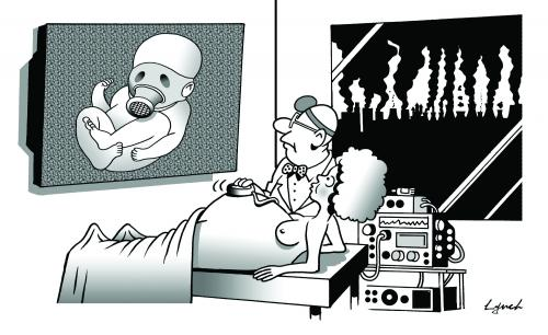 Cartoon: The ultrasound (medium) by toons tagged ultrasound,scan,pregnant,children,birth,environment,ecology,greenhouse,gases,pollution,earth,day