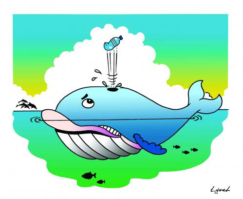 Cartoon: the whale and the plastic bottle (medium) by toons tagged the,ecology,greenhouse,pollution,environment,bottles,plastic,whales