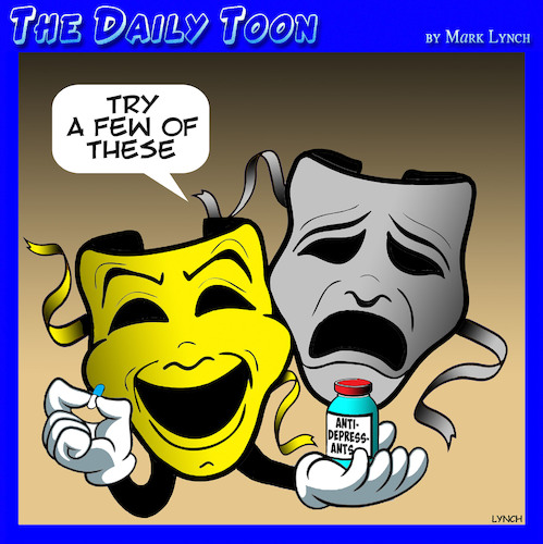 Cartoon: Theater masks (medium) by toons tagged anti,depressants,theater,drugs,prescriptions,uppers,sad,unhappy,anti,depressants,theater,drugs,prescriptions,uppers,sad,unhappy