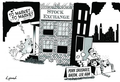 Cartoon: to market to market (medium) by toons tagged stock,market,shares,money,investment,,to