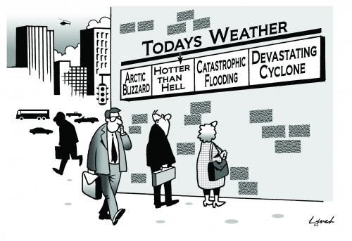 Cartoon: todays weather (medium) by toons tagged environment,ecology,greenhouse,gases,pollution,earth,day
