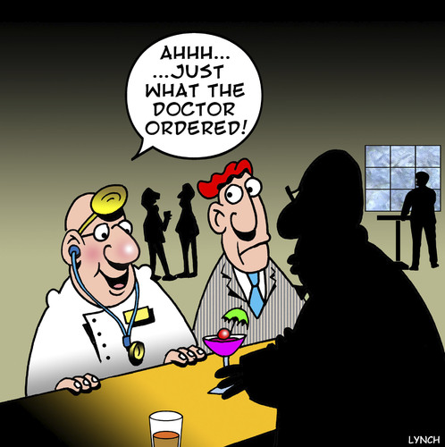 Cartoon: What the doctor ordered (medium) by toons tagged doctor,alcohol,cocktails,medical,bars,drinking,beer