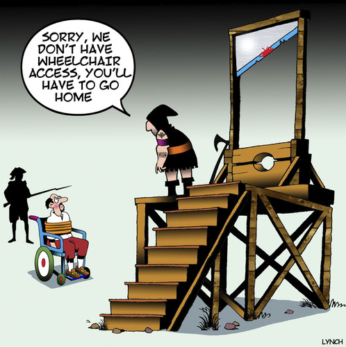 Cartoon: Wheelchair access (medium) by toons tagged guillotine,wheelchair,access,disabled,executioner,gallows,guillotine,wheelchair,access,disabled,executioner,gallows