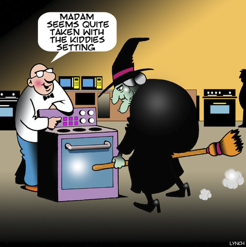 Cartoon: Wicked Witch (medium) by toons tagged witches,kiddes,cooking,ovens,broomstick,microwave,witches,kiddes,cooking,ovens,broomstick,microwave