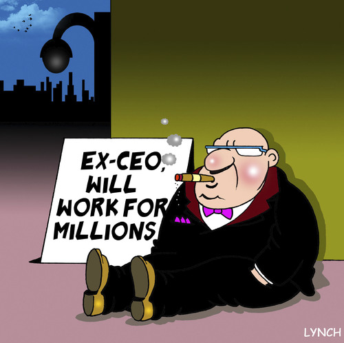 Cartoon: will work for millions (medium) by toons tagged ceo,big,business,excessive,salary,begging,greed
