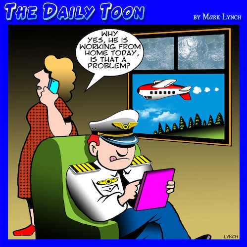 Cartoon: Work from home (medium) by toons tagged pilot,work,from,home,aircraft,pilot,work,from,home,aircraft