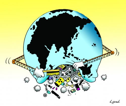 Cartoon: World sweep (medium) by toons tagged environment,ecology,greenhouse,gases,pollution,earth,day