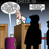 Cartoon: Airline check in (small) by toons tagged carry,on,luggage,airline,upgrade,demanding,passenger