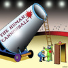Cartoon: Airport security (small) by toons tagged airport,security,circus,human,cannonball,acrobats,terrorism