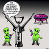 Cartoon: Aliens cartoon (small) by toons tagged aliens,corkscrew,wine,flying,saucers,extra,terrestrial,world,domination