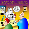 Cartoon: Between sequels (small) by toons tagged star,wars,movie,sequels,sauces,ketchup,fast,food,drinks,cafe,restaurants,chef,cook,waiter,hot,dog