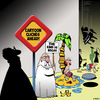 Cartoon: Cliches (small) by toons tagged cartoon,characters,cliches,signposts,caution,signs,desert,island,falling,piano