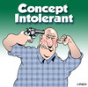 Cartoon: concept intolerant (small) by toons tagged suicide,guns,foolish,concept,pistols,firearms,deaf