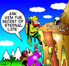 Cartoon: Eternal life (small) by toons tagged eternity,mountaineering,climber,guru,wise,man,mountains,afterlife,eternal,life,skeleton,bones,skull