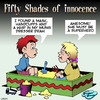 Cartoon: Fifty shades (small) by toons tagged fifty,shades,of,grey,masochism,sex,toys,handcuffs,superhero,sandpit,kids,children,playing
