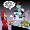 Cartoon: Genie in a bottle (small) by toons tagged magic,lamp,genie,misunderstandings,myths,three,wishes,fish,misconceptions