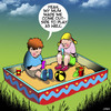 Cartoon: Go outside and play (small) by toons tagged sandbox,children,playing,social,media,smartphones,fresh,air