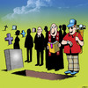 Cartoon: How much longer? (small) by toons tagged golf,funerals,widow,death,cemetary,funeral,plot