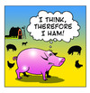 Cartoon: I Ham (small) by toons tagged philosophy,pigs,ham,psychology,farms,farmyard,animals,bacon