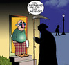 Cartoon: Just missed him (small) by toons tagged disguise,angel,of,death,comes,calling,take,message
