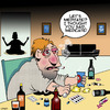 Cartoon: Medications (small) by toons tagged meditation,alcohol,drugs,medication,prescription,meds,yoga