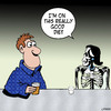 Cartoon: Really good diet (small) by toons tagged dieting,anorexia,obesity,skeleton,dating