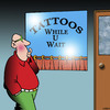 Cartoon: Tattoo parlour (small) by toons tagged tattoos,while,you,wait,silly,signs,body,art