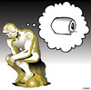Cartoon: The Thinker (small) by toons tagged sculpture,toilet,paper,art,the,thinker