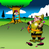 Cartoon: William Tell gets ready (small) by toons tagged william,tell,archery,archer,arrows,folklore,switzerland,father,and,son,family,apples,swiss,alps,cross,bow