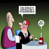 Cartoon: Wine (small) by toons tagged wine,snob,shiraz,red,disagreement,waiters