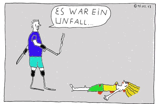 Cartoon: Es war ein Unfall (medium) by Müller tagged unfall,accident,pistorius,steenkamp