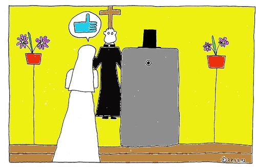 Cartoon: i like (medium) by Müller tagged ilike,smartphone,handy,marriage,heiraten,hochzeit,marry