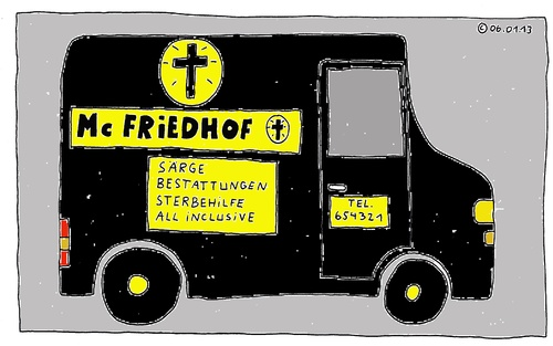 Cartoon: Mc Friedhof (medium) by Müller tagged mcfriedhof,bestattung,sarg,sterbehilfe,allinclusive