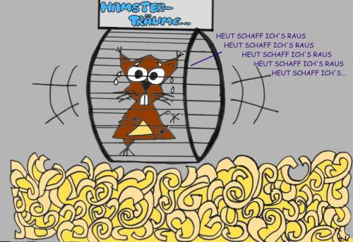 Cartoon: Hamsterträume (medium) by naLe tagged hamster,träume,raus,tiere,animals,cartoon,käfig,cage,laufrad,wheel