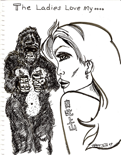 Cartoon: THE LADIES LOVE MY....... (medium) by Toonstalk tagged gorilla,dating,tattoo,sexy,girl,finish,the,line