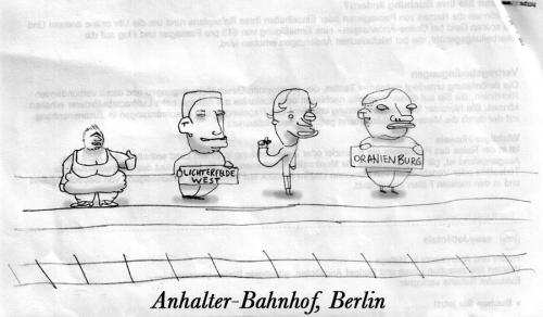 Cartoon: Anhalter Bahnhof - Berlin (medium) by prinzparadox tagged anhalter,bahnhof,berlin,train,station,hitchhiker,atzen