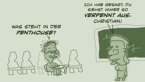 Cartoon: Penthouse (medium) by prinzparadox tagged penthouse,schule,school,müde,kalauer,wortwitz,lehrer