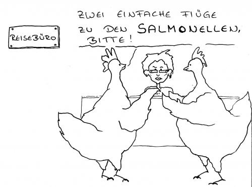 Cartoon: salmonellen (medium) by claudiator tagged hühner,reisebüro,salmonellen,urlaub,flug