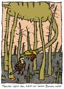Cartoon: Begegnung (small) by schwoe tagged wald,waldsterben,holz,holzfäller,motorsäge