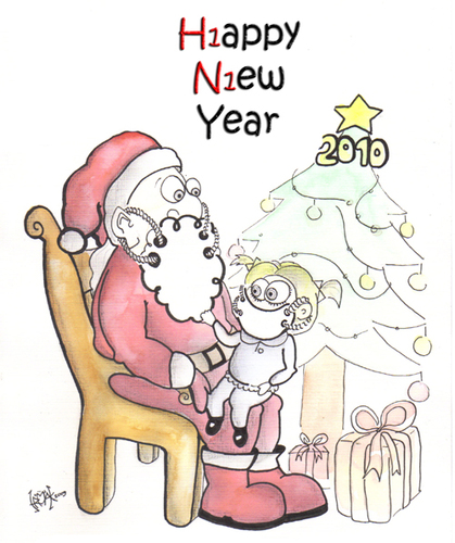 Cartoon: HAPPY NEW YEAR (medium) by majezik tagged christmas,swine,flu