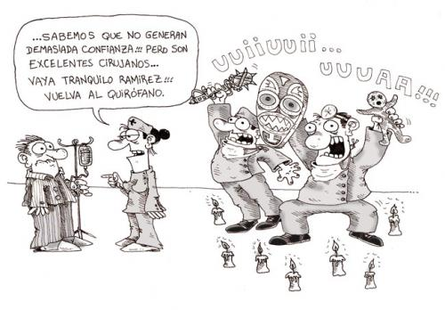 Cartoon: Cirujanos (medium) by Luiso tagged medicine