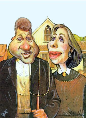 Cartoon: American gothic (medium) by bekesijoe tagged caricature,,hillary clinton,bill clinton,american gothic,gemälde,bauer,usa,präsident,demokratie,liberal,mistgabel,präsidentschaftskandidat,wahl,amerika,hillary,clinton,bill,american,gothic